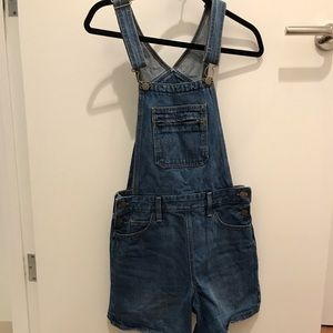 Levi's limited ed orange tab blue overall shorts